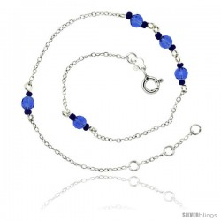 Sterling Silver Ankle Bracelet Anklet Natural Faceted Blue Stone Beads Glass Seed Beads, adjustable 9 - 10 in