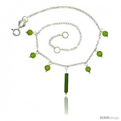 Sterling Silver Anklet Natural Stone Peridot Beads, adjustable 9 - 10 in