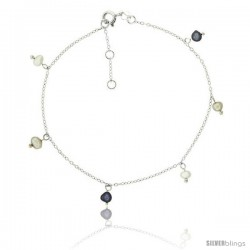 Sterling Silver Ankle Bracelet Anklet Cultured White and Black pearls, adjustable 9 - 10 in