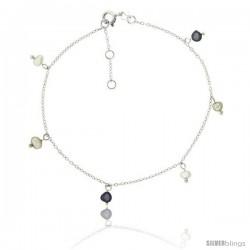 Sterling Silver Ankle Bracelet Anklet Cultured White and Black pearls, adjustable 9 - 10 in