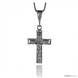 Sterling Silver Crucifix Pendant, 1 1/4 in -Style 4p105