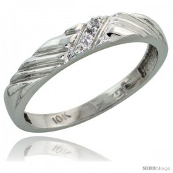 10k White Gold Ladies Diamond Wedding Band Ring 0.02 cttw Brilliant Cut, 1/8 in wide -Style 10w018lb