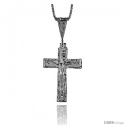 Sterling Silver Crucifix Pendant, 1 1/8 in