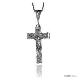 Sterling Silver Crucifix Pendant, 1 1/4 in -Style 4p104
