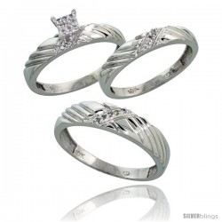 10k White Gold Diamond Trio Engagement Wedding Ring 3-piece Set for Him & Her 5 mm & 3.5 mm wide 0.11 cttw B -Style 10w018w3