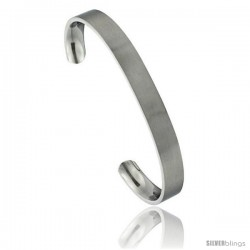 Stainless Steel Flat Cuff Bangle Bracelet Gold Dot Ends Matte finish Comfort-fit 5/16 in wide, 8 in