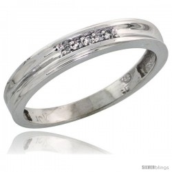 10k White Gold Ladies Diamond Wedding Band Ring 0.03 cttw Brilliant Cut, 1/8 in wide -Style 10w019lb