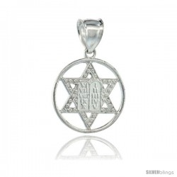 Sterling Silver Star of David Pendant Circle Centered with 10 Commandments Tablet, 26mm (1 1/16 in) wide