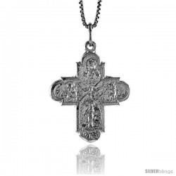 Sterling Silver Crucifix Pendant, 1 1/8 in -Style 4p111