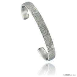 Stainless Steel Flat Cuff Bangle Bracelet Hammered Polish finish Comfort-fit long 5/16 in wide, 8 in