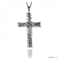 Sterling Silver Large Cross Pendant, 1 3/4 in
