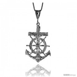 Sterling Silver Mariner's Cross Pendant, 1 1/2 in