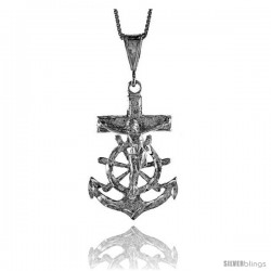 Sterling Silver Mariner's Cross Pendant, 1 1/2 in -Style 4p122