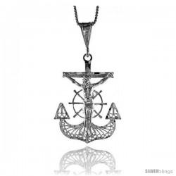 Sterling Silver Filigree Mariner's Cross Pendant, 1 1/2 in