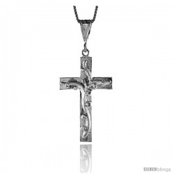 Sterling Silver Cross Pendant with Vine, 1 5/8 in