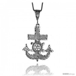 Sterling Silver Mariner's Cross Pendant, 1 3/8 in