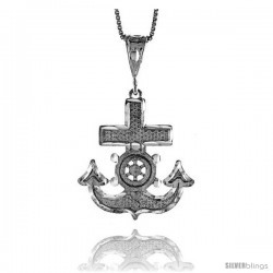Sterling Silver Mariner's Cross Pendant, 1 1/4 in -Style 4p135