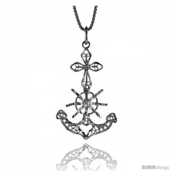 Sterling Silver Filigree Mariner's Cross Pendant, 1 1/4 in