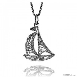 Sterling Silver Sailboat Pendant, 7/8 in