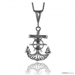 Sterling Silver Filigree Mariner's Cross Pendant, 1 in -Style 4p143