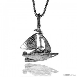 Sterling Silver Sailboat Pendant, 5/8 in