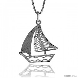 Sterling Silver Filigree Sailboat Pendant, 1 in