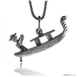 Sterling Silver Gondola Pendant, 1 in