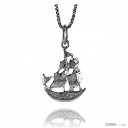 Sterling Silver Ship Pendant, 3/4 in