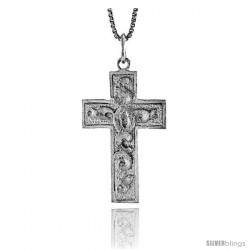 Sterling Silver Cross Pendant, 1 1/4 in -Style 4p15