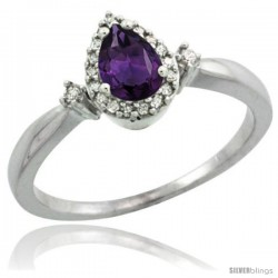 Sterling Silver Diamond Natural Amethyst Ring 0.33 ct Tear Drop 6x4 Stone 3/8 in wide