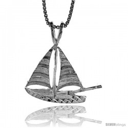 Sterling Silver Sailboat Pendant, 3/4 in