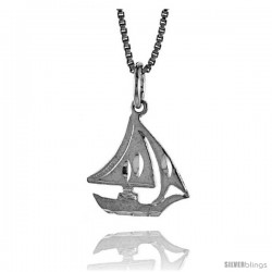 Sterling Silver Sailboat Pendant, 5/8 in -Style 4p151