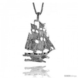 Sterling Silver Ship Pendant, 1 1/16 in