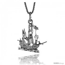 Sterling Silver Ship Pendant, 3/4 in -Style 4p155