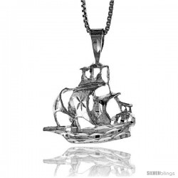 Sterling Silver Ship Pendant, 3/4 in -Style 4p156