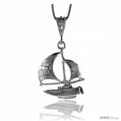 Sterling Silver Sailboat Pendant, 1 1/16 in
