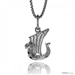 Sterling Silver Tiny Viking Boat Pendant, 1/2 in