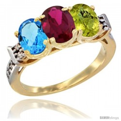 10K Yellow Gold Natural Swiss Blue Topaz, Ruby & Lemon Quartz Ring 3-Stone Oval 7x5 mm Diamond Accent