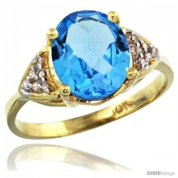 10k Yellow Gold Diamond Swiss Blue Topaz Ring 2.40 ct Oval 10x8 Stone 3/8 in wide