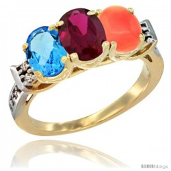 10K Yellow Gold Natural Swiss Blue Topaz, Ruby & Coral Ring 3-Stone Oval 7x5 mm Diamond Accent