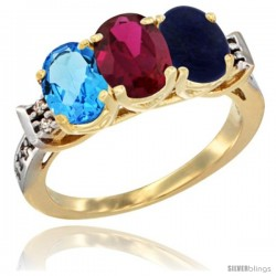 10K Yellow Gold Natural Swiss Blue Topaz, Ruby & Lapis Ring 3-Stone Oval 7x5 mm Diamond Accent