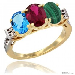 10K Yellow Gold Natural Swiss Blue Topaz, Ruby & Malachite Ring 3-Stone Oval 7x5 mm Diamond Accent