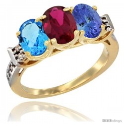 10K Yellow Gold Natural Swiss Blue Topaz, Ruby & Tanzanite Ring 3-Stone Oval 7x5 mm Diamond Accent