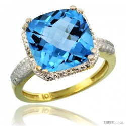 10k Yellow Gold Diamond Swiss Blue Topaz Ring 5.94 ct Checkerboard Cushion 11 mm Stone 1/2 in wide