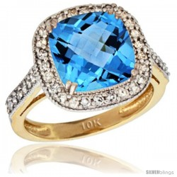 10k Yellow Gold Diamond Halo Swiss Blue Topaz Ring Checkerboard Cushion 9 mm 2.4 ct 1/2 in wide