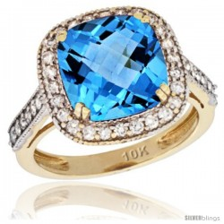 10k Yellow Gold Diamond Halo Swiss Blue Topaz Ring Cushion Shape 10 mm 4.5 ct 1/2 in wide