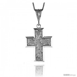 Sterling Silver Cross Pendant, 1 1/4 in -Style 4p16
