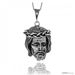Sterling Silver Jesus Pendant, 1 1/2 in