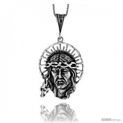Sterling Silver Jesus Pendant, 1 1/2 in -Style 4p162
