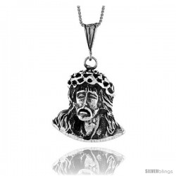 Sterling Silver Jesus Pendant, 1 1/4 in